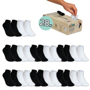 28 Paar, ERWACHSENE (36-46) Pulliez Schwarz & Weiss, Low-Cut Sockenbox