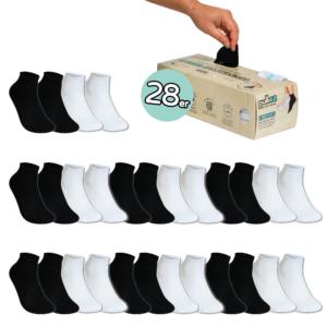 28 Paar, KINDER  (24-35) Pulliez Schwarz & Weiss, Low-Cut Sockenbox
